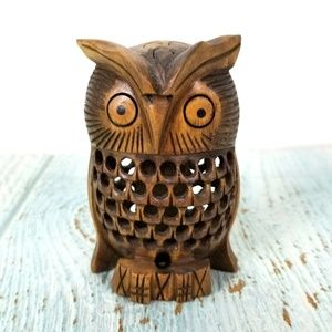 Carved Wood Owl Figurine Wise Bird Totem Animal 4""